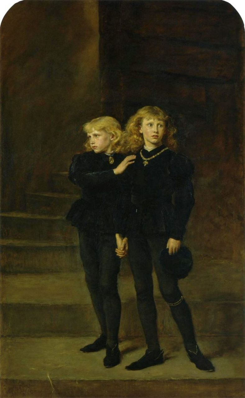 The Two Princes in the Tower, 1483, by Sir Johb Everett Millais, 1878, public domain