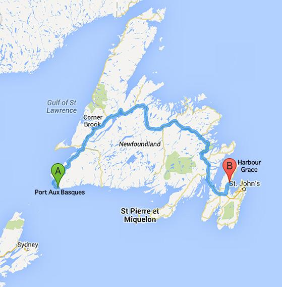 10 map of NL, Harbour Grace to Corner Brook