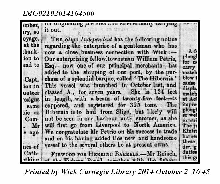 19.5 newspaper clipping Wm Petrie ship purchase