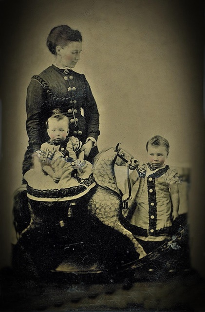 22 tin-type photo Georgina and two young boys