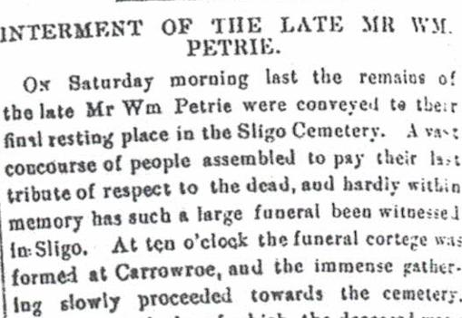 5 snippet of Wm Petrie Jr funeral article, Nov, 1894