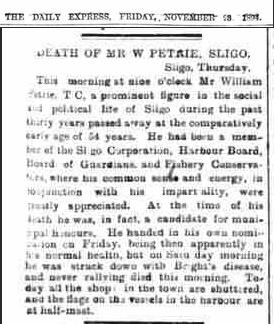 7 section of another article, Wm Petrie Jr. funeral