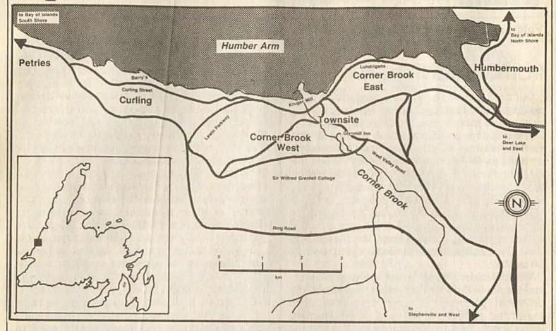 9 map showing Petries and Corner Brook