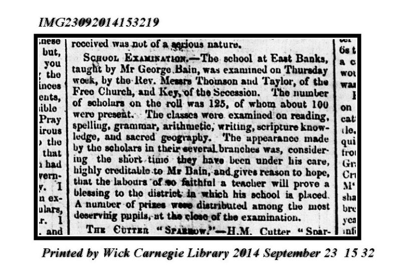July 18 1845 JOGJ (School Examination East Banks GB) John OGroats Journal