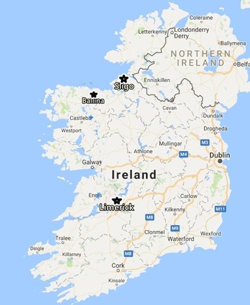 3 MAP 1 Ireland, with Ballina Sligo Limerick