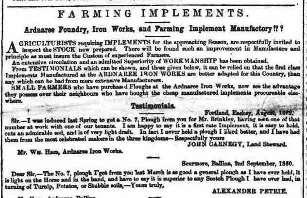 38 Alexander Petrie testimonial for plough, Jan 3 1863, Connaught Watchman