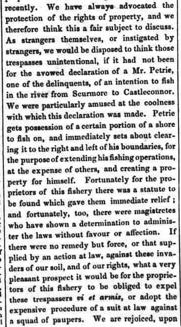 4.8 article The Connaught Watchman, May 18 1853, Wm Petrie trespass