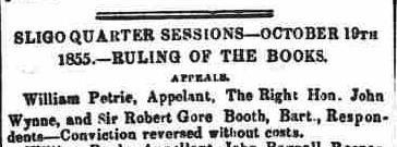 4.911 The Sligo Champion newspaper, Oct 27 1855 appeal successful