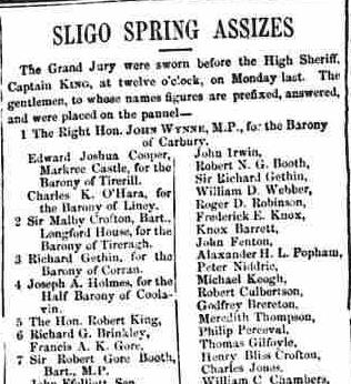 4.96 The Sligo Champion, March 7, 1857, the Grand Jury, Wynne and Booth
