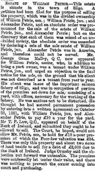 40 Wm Petrie Estate Sale, the Freeman's Journal, Nov 24, 1882