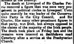 5.3 obit Sir Charles Petrie Sr. Weekly Freeman's Journal, Irish, July 17 1920