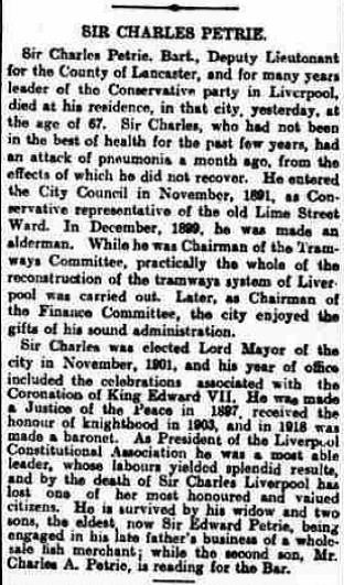 5.4 obit Sir Charles Petrie Sr. Yorkshire Post and Leeds Intelligencer, July 9 1920