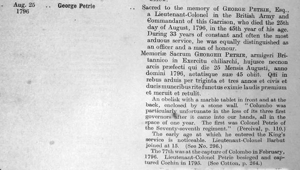 George Petrie, Tombstones and Monuments in Ceylon, Pettah cemetery crop